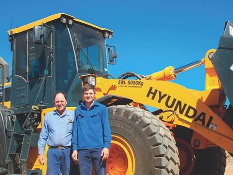 Phillip and Tom Coggan with their new Hyundai Wheel loader from Porter Equipment