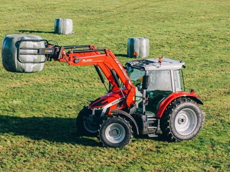 The new Massey Ferguson 5S carrying hay bales