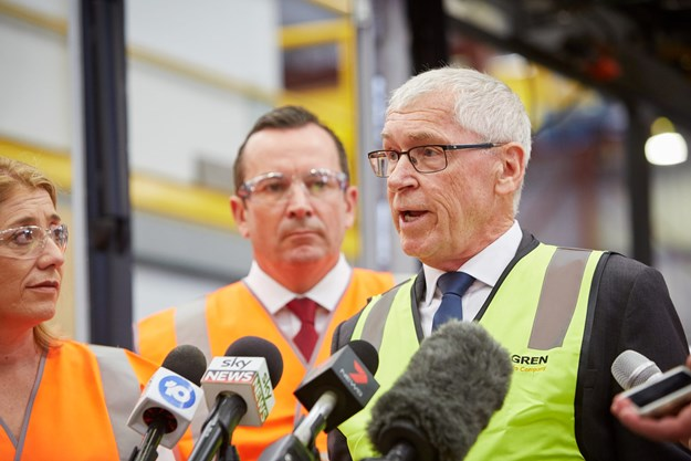 Peter Dale speaking at the PTA press conference with WA Premier Mark McGowan and Transport Minister Rita Saffioti.jpg