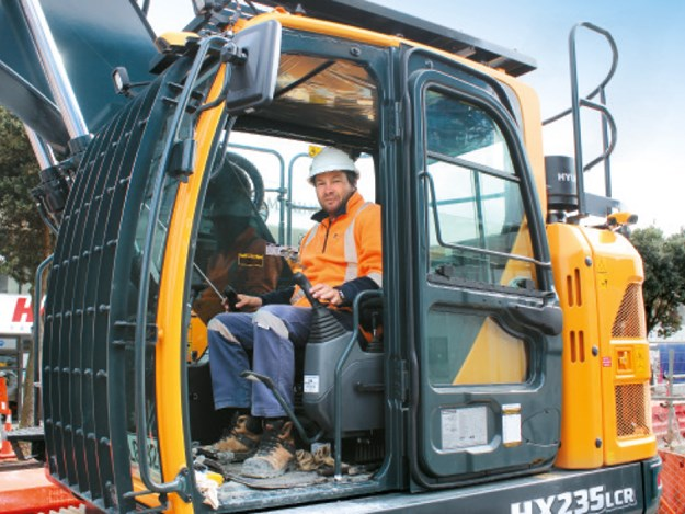 Total Civil senior site supervisor, Andy Lawrence at the controls