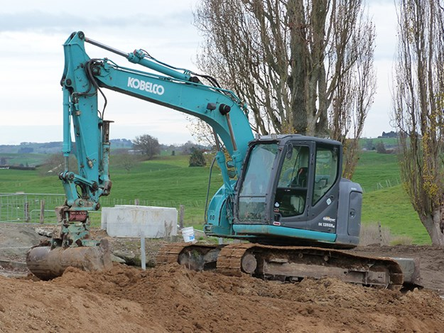 One of the Kobelco SK 135SR excavators waiting to do the business
