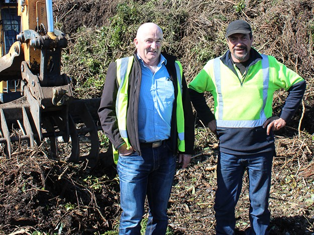 Kerry O'Neill (left)  with machine operator Peter Remi