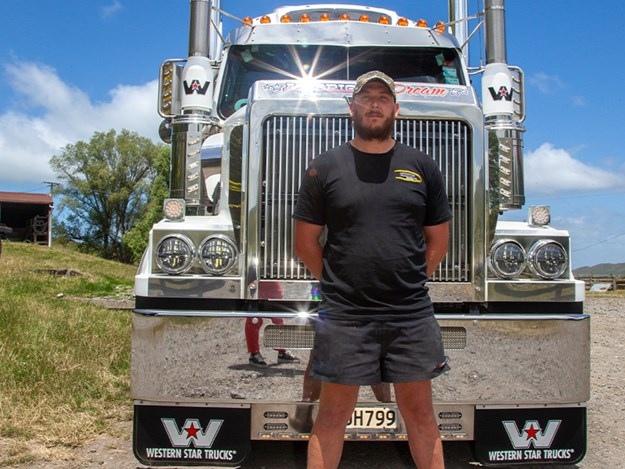 Sven Muggeridge: open for business with his Western Star and low loader trailer