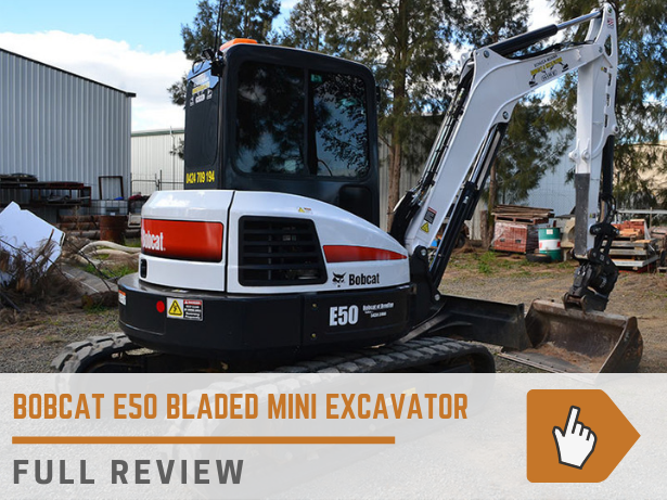Bobcat E50 bladed mini excavator