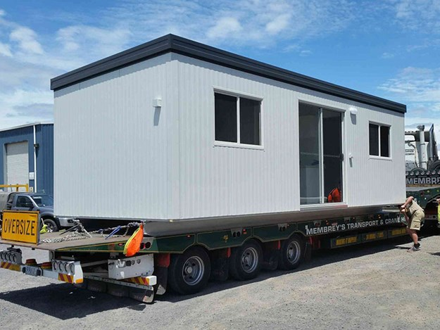 A Ryebuck portable building being delivered