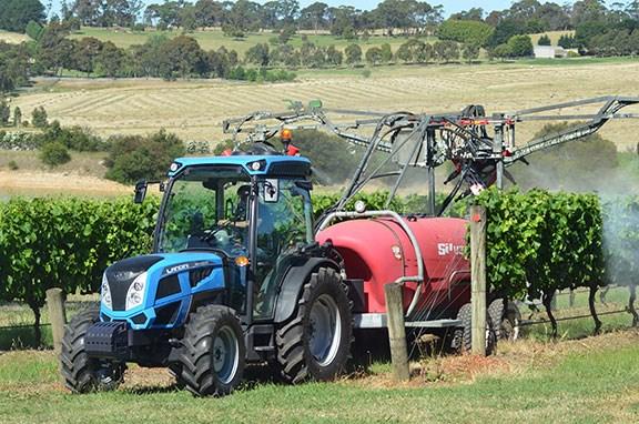 The Landini Rex 4 100 GT tractor working hard