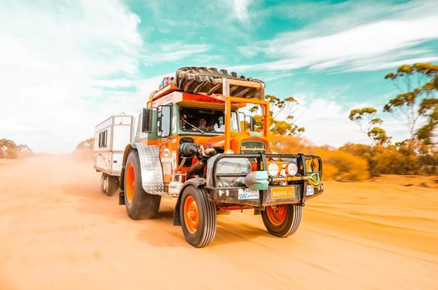A Chamberlain 9G tractor drving through the Western Australian desert