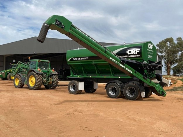 The CRF 6m Supa Bin fitted with the 6m Supa Tube mounted on a super dog trailer