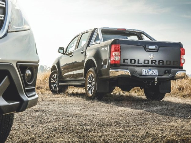 The Holden Colorado ute from behind