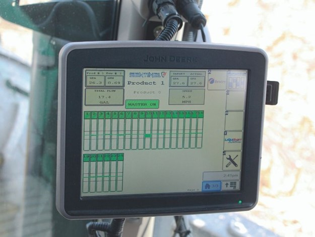 The Sentinel provides in-cab ISOBUS monitoring of fertiliser flow and rate control, with both functions built into the same hardware