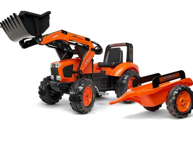 KUBOTA M135GX RISE-ON PEDAL TRACTOR WITH LOADER & TRAILER