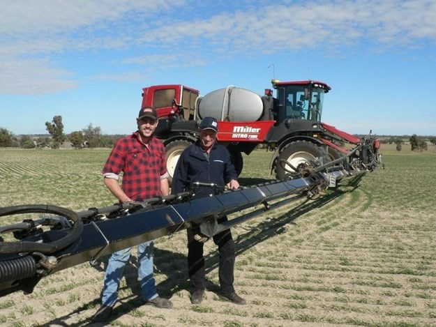 Reece Stratford with McIntosh & Son Wongan Hills sales manager David Trindall with the Miller Nitro 7380 sprayer