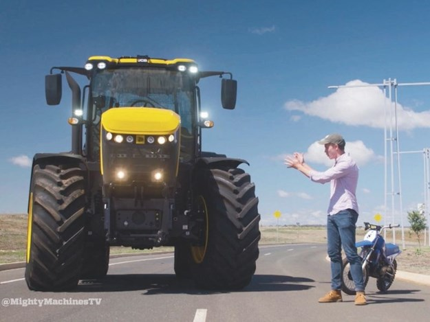 Harry next to the JCB Fastrac and the PeeWee80 for Mighty Machines TV