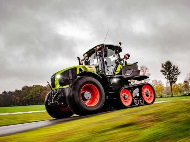 The Claas Axion 960TT being testing in Germany for Mighty Machines TV