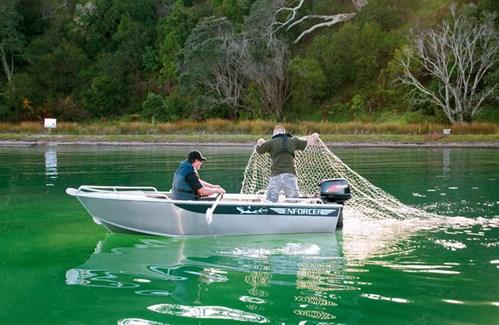 Fishing for flounder in an Enforcer 370