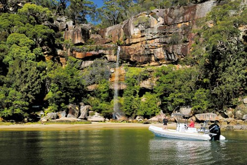 Ballistic rigid inflatable boat in lagoon