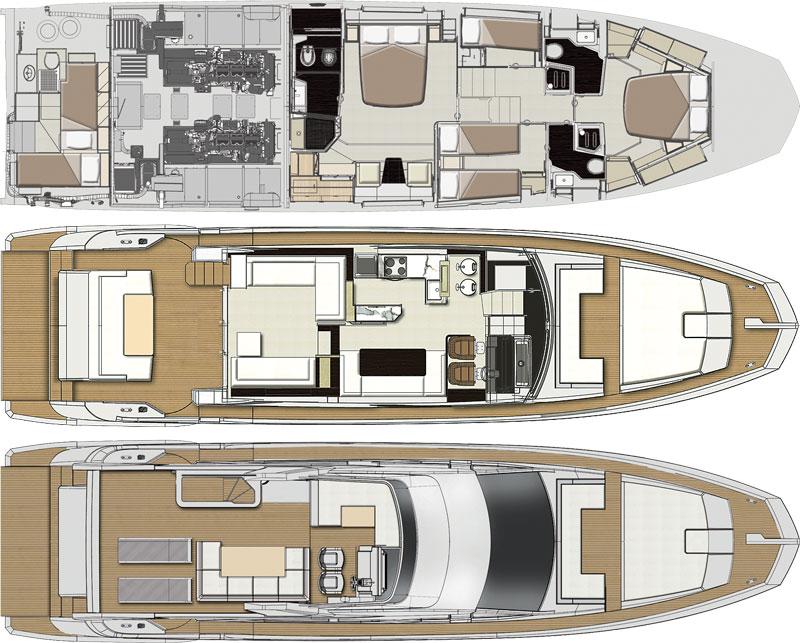 Deck plans of Azimut 66
