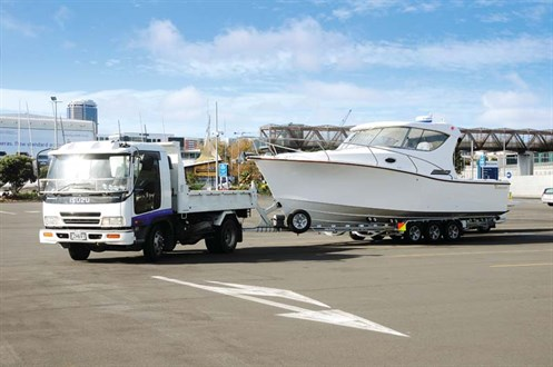 Whitecloud 9m Trailer Launch behind towing truck