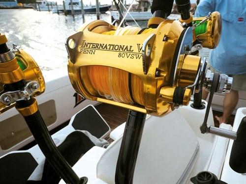 Gamefish reels on Caribbean flybridge cruiser