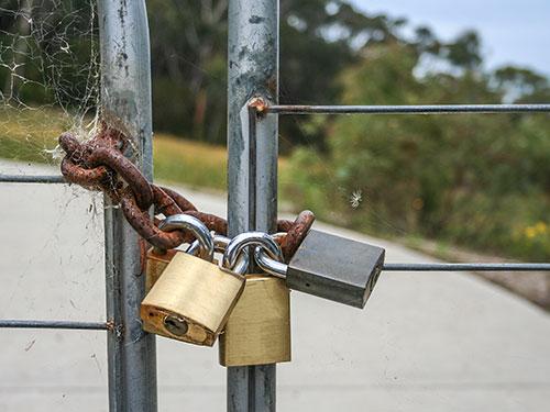 Locked farm gate