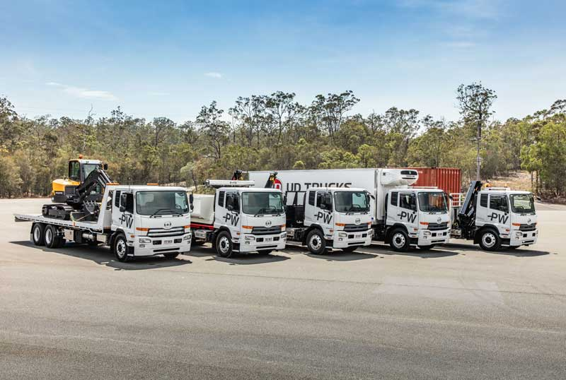 Group of UD PW 24 280 trucks