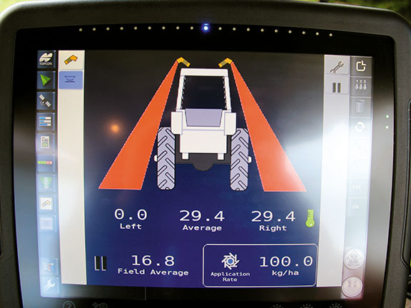 The real-time N readings on the ISOBUS display