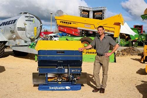 Service -manager -Kyle -Britten -with -a -Bogballe -fertiliser -spreader