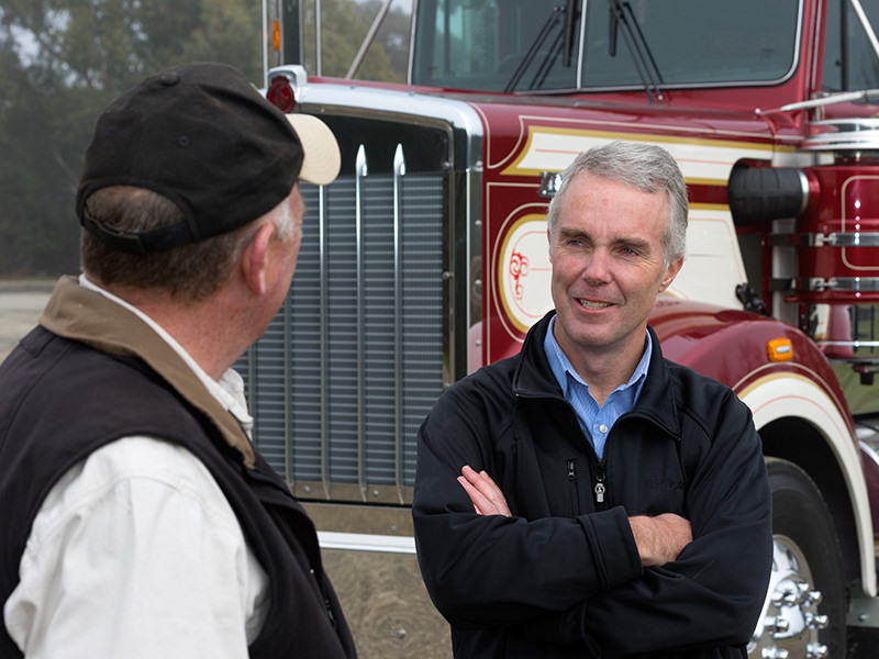 Brad May (right) talks to Steve Brooks about the truck