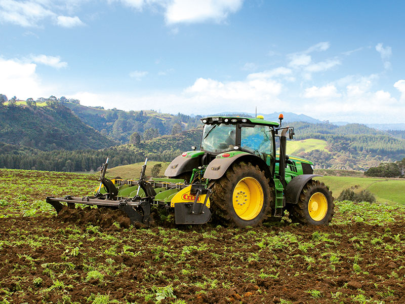 The Celli ALCE-P deep ripper and Tiger 280 DD rotary hoe behind a John Deere 6210R tractor