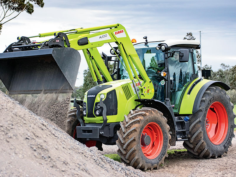 The Claas Arion front on with loader