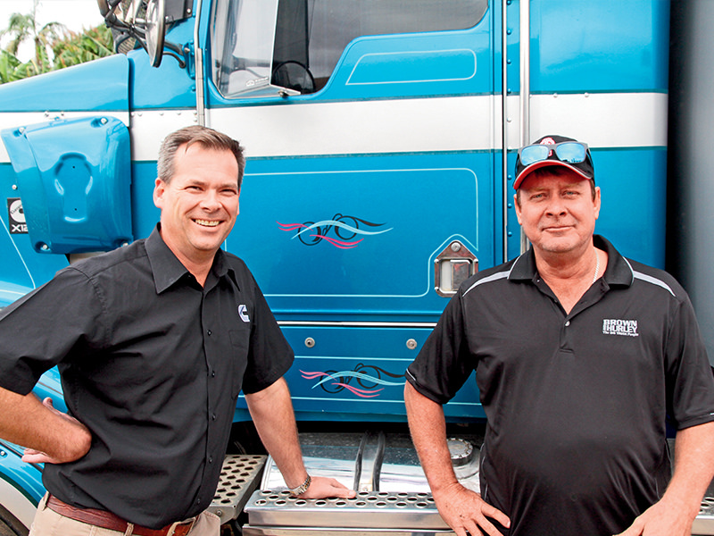 Cummins engine chief Mike Fowler and John Crampton. X12 installation in a well preserved T408 was a good move for both. Performance of the 12-litre is surprisingly strong