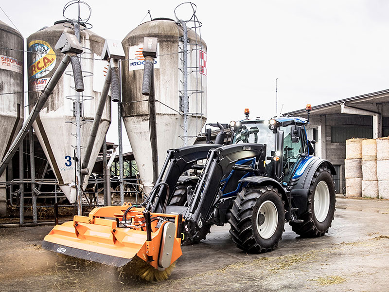 The Valtra attached with a sweeping attachement
