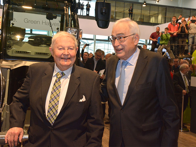 Helmut Claas, who built the Claas group with Willi Liebherr, president of the Liebherr International.