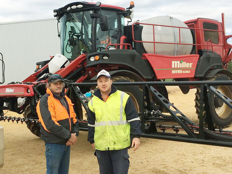 Nev Dunn, with WD Lewis at Karoonda, and Sam Venning with the Miller Nitro 6365 sprayer
