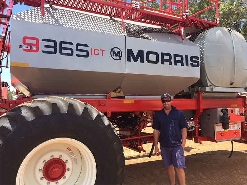 Simon Chipper with the family's Morris 9365 air cart fitted with Input Control Technology (ICT)