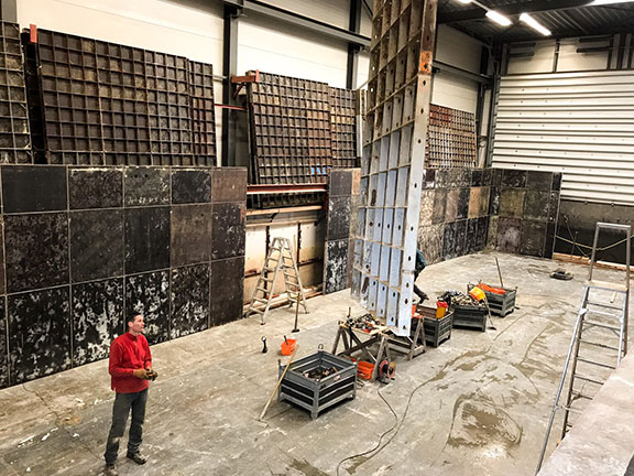 Three concrete floats are currently being constructed in a drydock that together form the foundations for the floating farm
