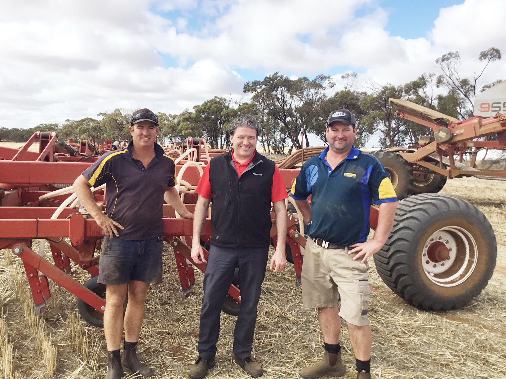Nathan Williams, Beulah, Morris Industries President and Chief Executive Officer Ben Voss and Justin Ward, of Belle-Vue Trading at Warracknabeal in Victoria